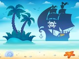 Pirate Vessel Silhouette Theme 2 Wall Sticker