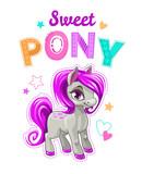 Cute cartoon little horse with purple hair.
