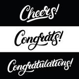Set of Cheers, Congrats, Congratulations hand written lettering.