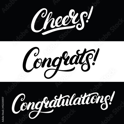 Set of Cheers, Congrats, Congratulations hand written lettering.
