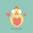 Cute cartoon chicken vector. - 152331188