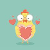 Cute cartoon chicken vector.