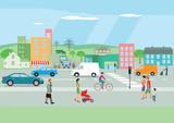 Straße in der Stadt mit Personen und Autoverkehr - 152332731
