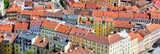 Top view of the red roofs of Prague downtown.