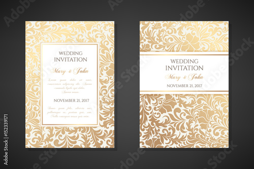 Vintage wedding invitation templates. Cover design with gold traditional ornaments.
