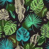 Decorative seamless pattern with ink hand-drawn Tropical leaves. Vector illustration. - 152344951