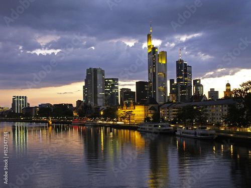 Skyline and River Main at Night in Frankfurt am Main, Hesse, Hessen, Germany, Europe, 22. May 2007