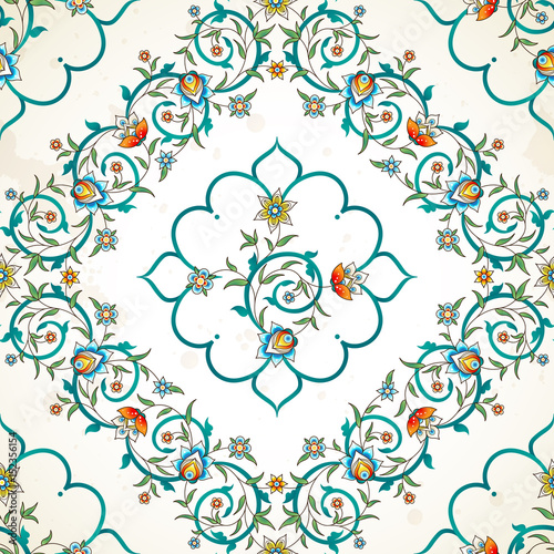 Tuinposter Abstract bloemen Vector seamless pattern in Eastern style.