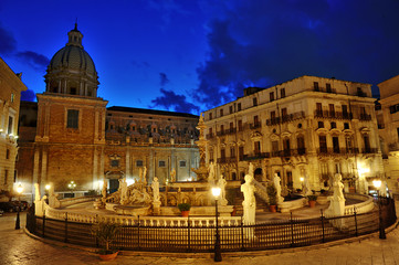 Famous baroque Fountain of shame on Piazza Pretoria, Palermo, Sicily, Italy