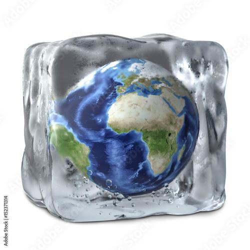 Erde im Eiswürfel