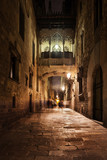 Bridge in Gothic Quarter of Barcelona at Night in Catalonia, Spain, Europe