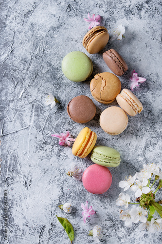 Variety of colorful french sweet dessert macaron macaroons with different fillings served with spring flowers over gray texture background Poster