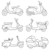 Set of motorcycle vector design flat icon