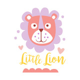 Cute cartoon little lion colorful hand drawn vector Illustration