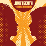 Celebrate freedom sign and people silhouettes over orange background. Vector illustration.