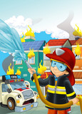 cartoon stage with fireman near burning building scared ambulance is watching colorful scene