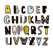 Funny childish made with ink alphabet.Vector cute handcrafted font. - 152414735