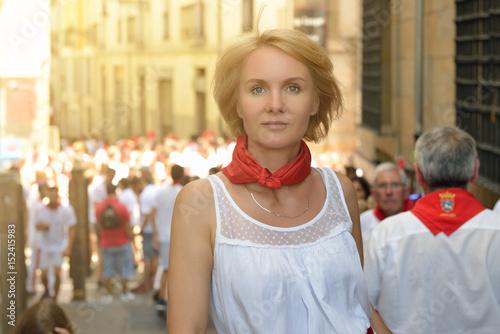 Woman on festival San Fermin, Pamplona, Spain.