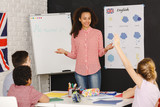 Fototapety Young woman teaching kids
