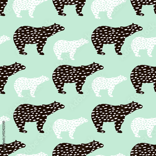 Seamless pattern with polar bear silhouette. Perfect for fabric,textile.Vector background - 152422548
