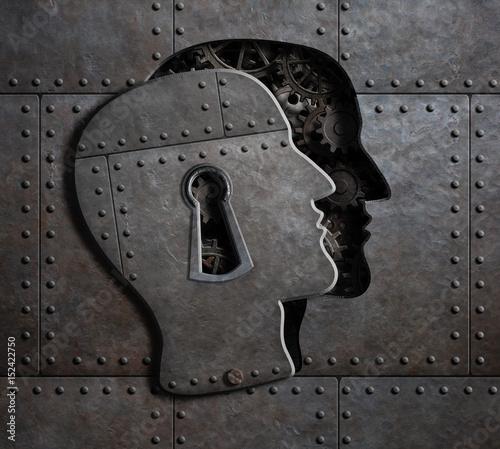 Fototapeta Open brain door with metal gears and cogs 3d illustration