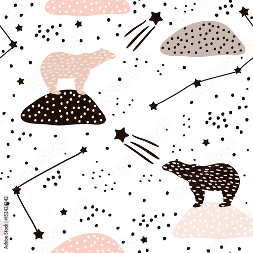 Seamless pattern with polar bears silhouette and Constellations . Perfect for fabric,textile.Vector background - 152424342