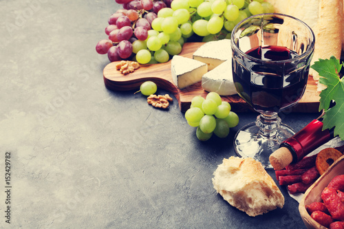 Wine, grape, cheese, sausages Poster