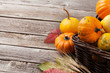 Autumn pumpkins on wooden table - 152429934