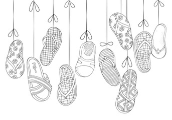 Background with hanging beach shoes. Hand drawn set of summer doodles elements in vector. Pattern for adult coloring book. Black and white. Zentangle. Summer, beach shoes, step-ins