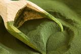 Closeup of chlorella algae powder with wooden scoop - 152440750