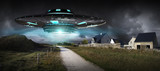 UFO invasion on planet earth landascape 3D rendering