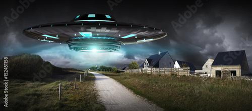 Foto op Canvas UFO UFO invasion on planet earth landascape 3D rendering