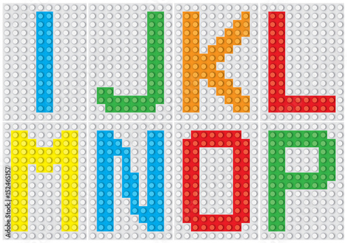 Fototapeta Bricks alphabet set, letters : I J K L M N O P / vector illustration