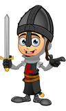 Boy Black Knight Cartoon Character - 152467996