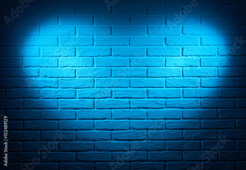 Fototapeta blue wall with heart shape light effect and shadow, abstract background photo