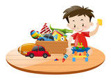 Little boy and many toys