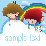Sample text template with kids drawing