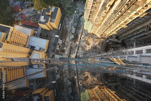 From the top 40 floors of tall buildings while looking down
