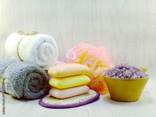 hygiene cleansing spa accessories with Shampoo soap and shower cream bathroom products © may1985
