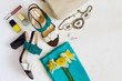 flat lay Women's shoes and accessories collage. Beauty and fashion background