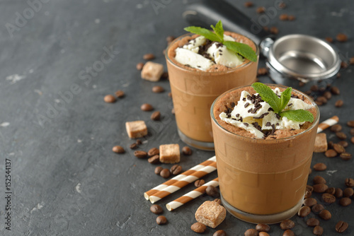 Foto op Aluminium Milkshake Milkshake with coffee and ice cream