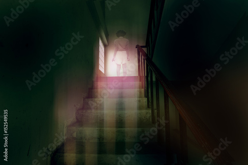 Poster ghost little girl appears on stairs in haunted house, child is confined to death