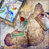 Background with collage,map,frame and stamps