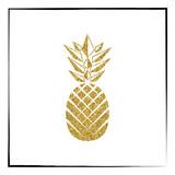 Fototapety Gold glitter Pineapple pattern. Summer fruit trendy illustration. Pineapple isolated on white background. Poster design. Vector illustration.