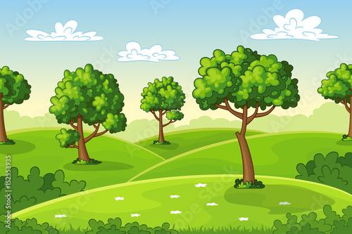 Foto op Plexiglas Pool Illustration of a summer landscape with trees