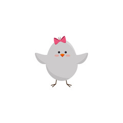 cute chicken icon over white background. colorful design. vector illustration