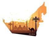 Skyline of Dubai with camel in the form of a map of the United Arab Emirates