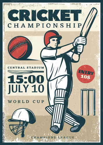 Vintage Cricket Championship Sport Poster
