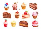 Fototapety Cake and cupcake dessert watercolor set design