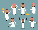 Saudi arabian businessman in different poses set - 152578110